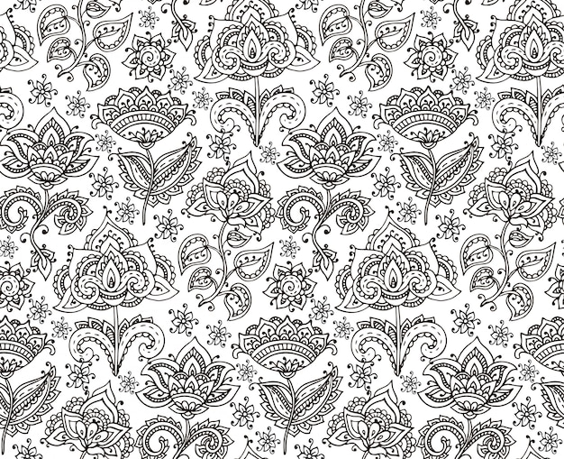 Seamless pattern with hand drawn henna floral elements
