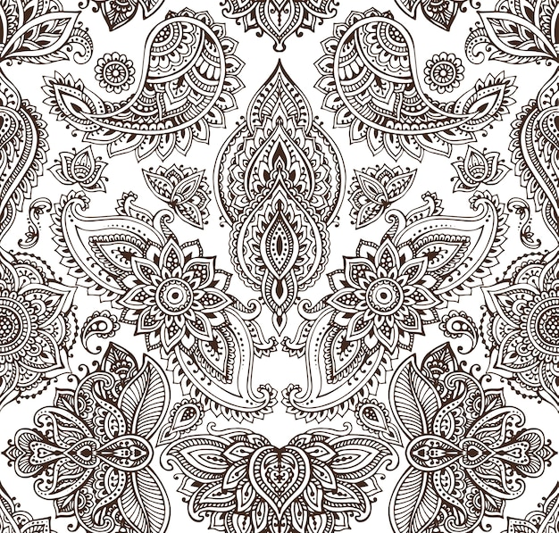 Seamless pattern with hand drawn henna mehndi floral elements.