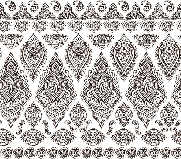 Seamless pattern with hand drawn henna mehndi floral elements