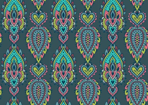 手描きのヘナ一時的な刺青の花の要素とのシームレスなパターン。