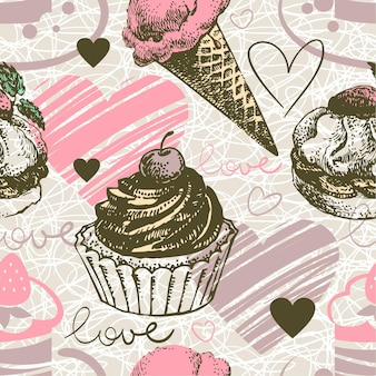 Seamless pattern with hand drawn ice cream and cakes. love background with doodle hearts