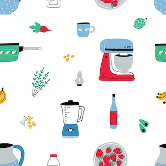 Seamless pattern with hand drawn kitchen utensils, manual and electric tools for home cooking.