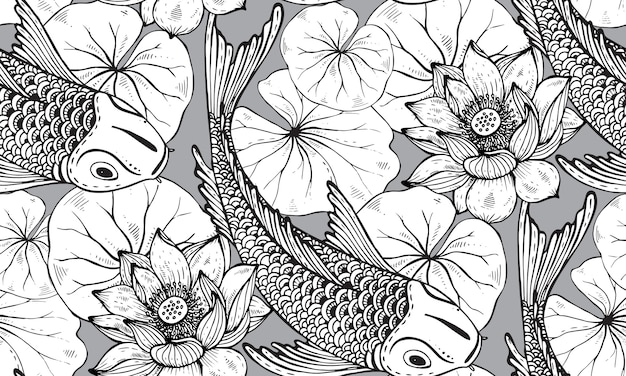 Seamless pattern with hand drawn koi fish with lotus