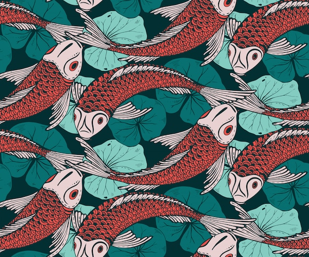 Seamless pattern with hand drawn koi fish