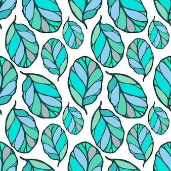 손으로 그린 원활한 패턴 단풍. 직물, 벽지, 포장.