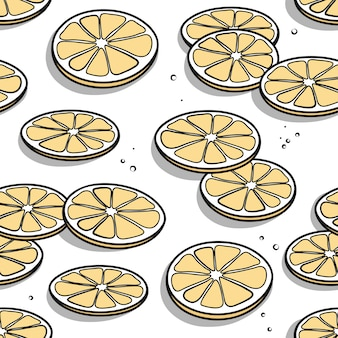 Seamless pattern with hand drawn lemon slices with shadows on a white background.