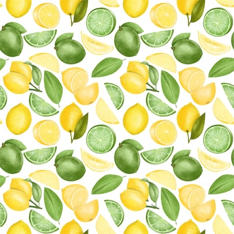Seamless pattern with hand drawn lemons and limes