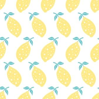 手でシームレスなパターンには、レモンが描かれています。