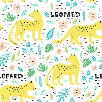 Seamless pattern with hand drawn leopards.