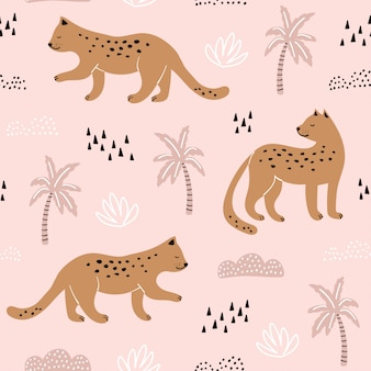 Seamless pattern with hand drawn leopards