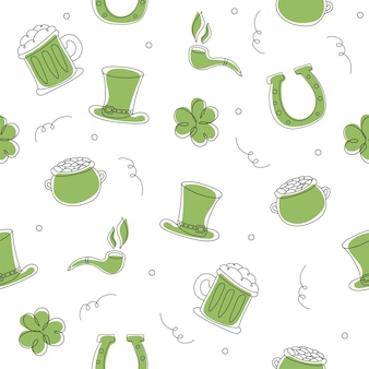 Seamless pattern with hand drawn leprechaun hat, clower, beer mug, golden coin pot sketch set for st. patrick day on white