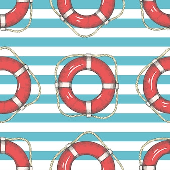 Seamless pattern with hand drawn lifebuoys and stripes