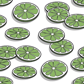 Seamless pattern with hand drawn lime slices with shadows on a white background.