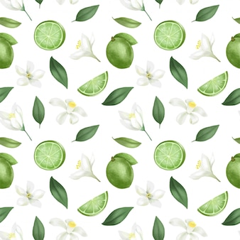 Seamless pattern with hand drawn limes