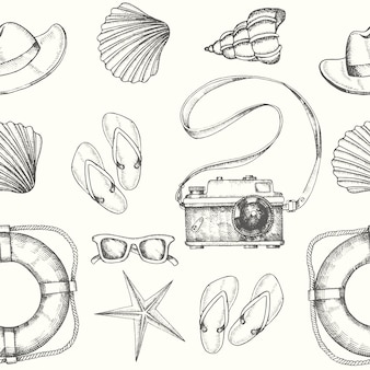 Seamless pattern with hand drawn men's summer accessories