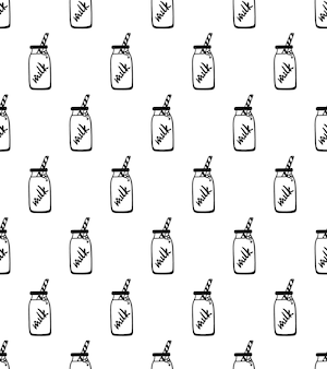 手描きの牛乳瓶とのシームレスなパターン