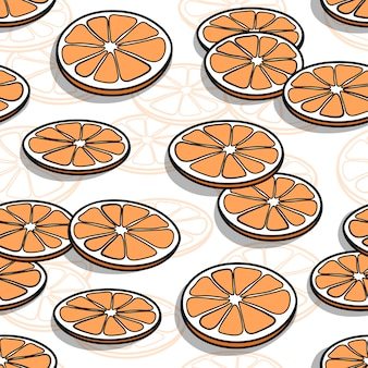 Seamless pattern with hand drawn orange slices with shadows