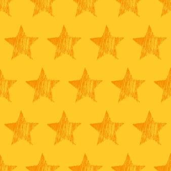 黄色の背景に手描きのオレンジ色の星とのシームレスなパターン。抽象的なグランジテクスチャ。ベクトルイラスト