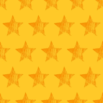 Seamless pattern with hand drawn orange stars on yellow background. abstract grunge texture. vector illustration