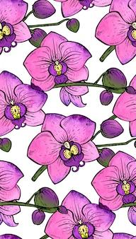 手でシームレスなパターンは、水彩テクスチャと蘭の花を描いた