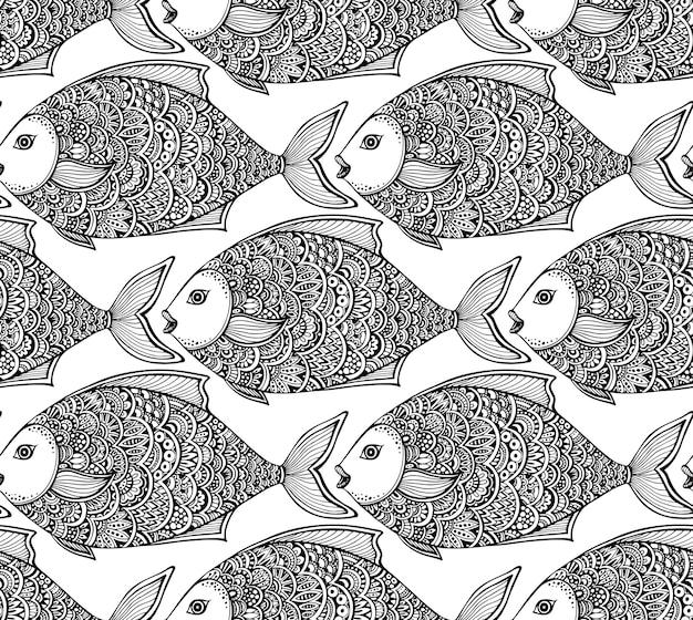 手でシームレスなパターンには、華やかなグラフィックの魚が描かれています。黒と白の美しい無限の背景。