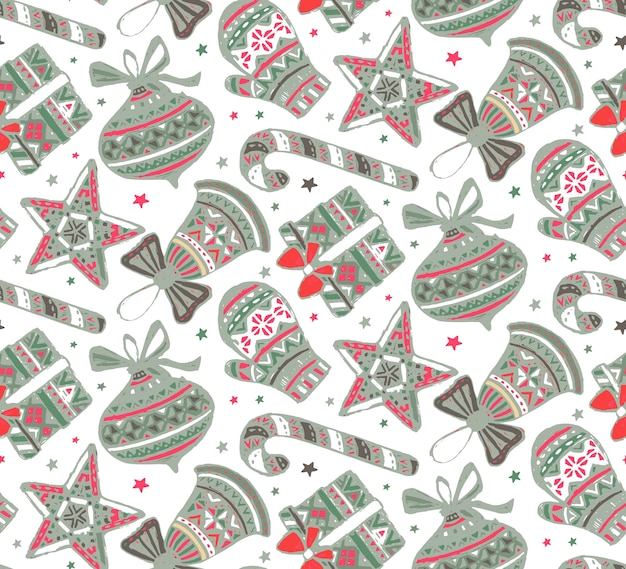 Seamless pattern with hand drawn ornate presents stars