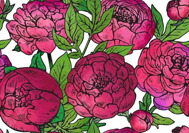 手描きの牡丹の花とのシームレスなパターン
