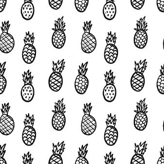 手描きのパイナップルとのシームレスなパターン。ポスター、カード、バナー、チラシのデザイン要素。