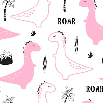 Seamless pattern with hand drawn pink dino.