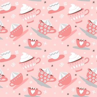 Seamless pattern with hand drawn pink valentine's day romantic cute cups, mugs, hearts, coffee, cocoa