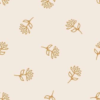 Seamless pattern with hand drawn plants