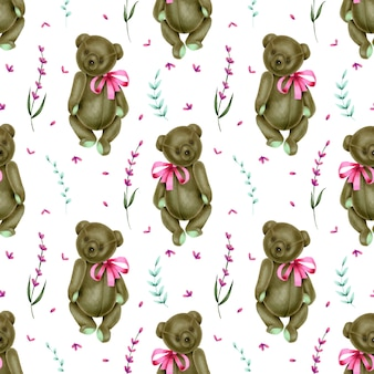 Seamless pattern with hand drawn plush bears and lavender