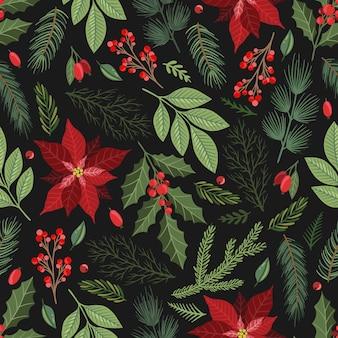 Бесшовный фон с рисованной пуансеттия цветами и цветочными ветвями и ягодами, рождественскими цветами.