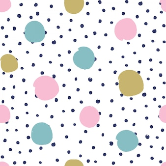 Seamless pattern with hand drawn polka dots