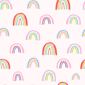 Seamless pattern with hand drawn rainbows