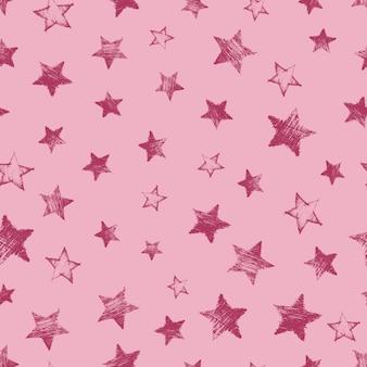 赤い背景に手描きの赤い星とのシームレスなパターン。抽象的なグランジテクスチャ。ベクトルイラスト