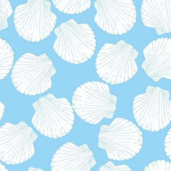 Seamless pattern with hand drawn scallop shells