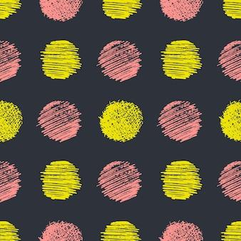 손으로 그린 낙서 얼룩 원으로 완벽 한 패턴입니다. 추상 그런 지 질감입니다. 벡터 일러스트 레이 션