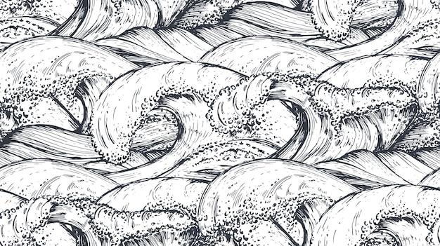スケッチ風の手描きの海の波とのシームレスなパターン。