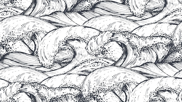 Seamless pattern with hand drawn sea waves in sketch style.