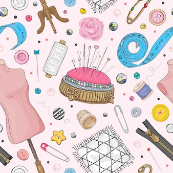 手描きの縫製要素とのシームレスなパターン