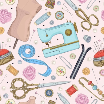 Seamless pattern with hand drawn sewing retro elements