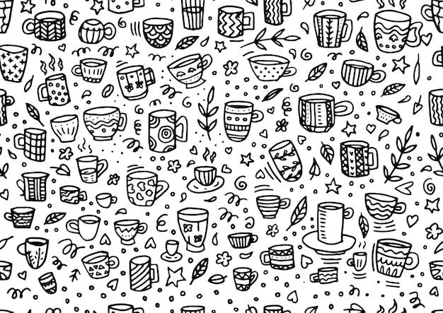 Бесшовный фон с рисованной отрывочны чашки чая и кофе. кофе-брейк плиточный фон.