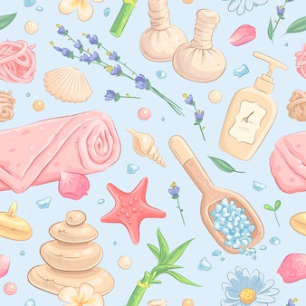 Seamless pattern with hand drawn spa treatment elements