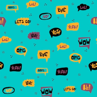 Seamless pattern with hand drawn speech bubbles with handwritten short phrases yes, bye, omg, wow, hi, lol, love, oops, no. vector