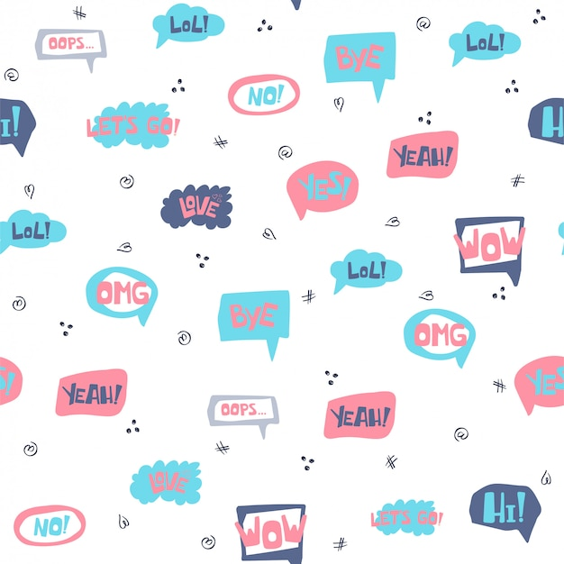 Seamless pattern with hand drawn speech bubbles