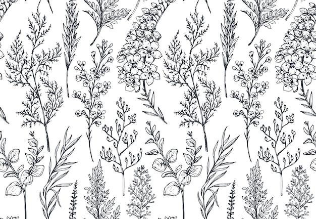 Бесшовный фон с рисованной весенние цветы и растения в стиле эскиза.