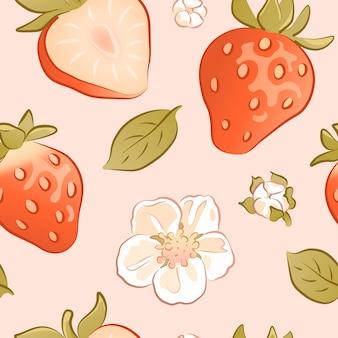 手描きのイチゴとのシームレスなパターン