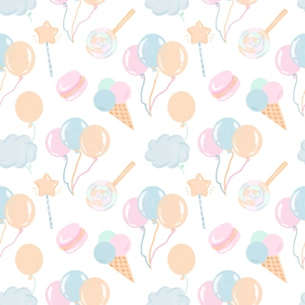 Seamless pattern with hand drawn sweets, air balloons and clouds in pastel colors