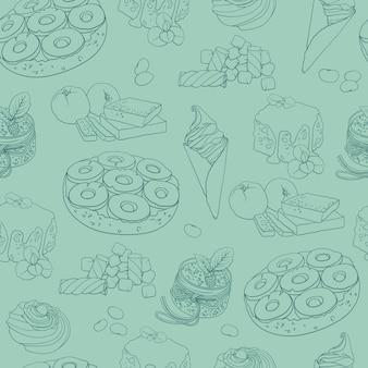 Seamless pattern with hand drawn sweets.